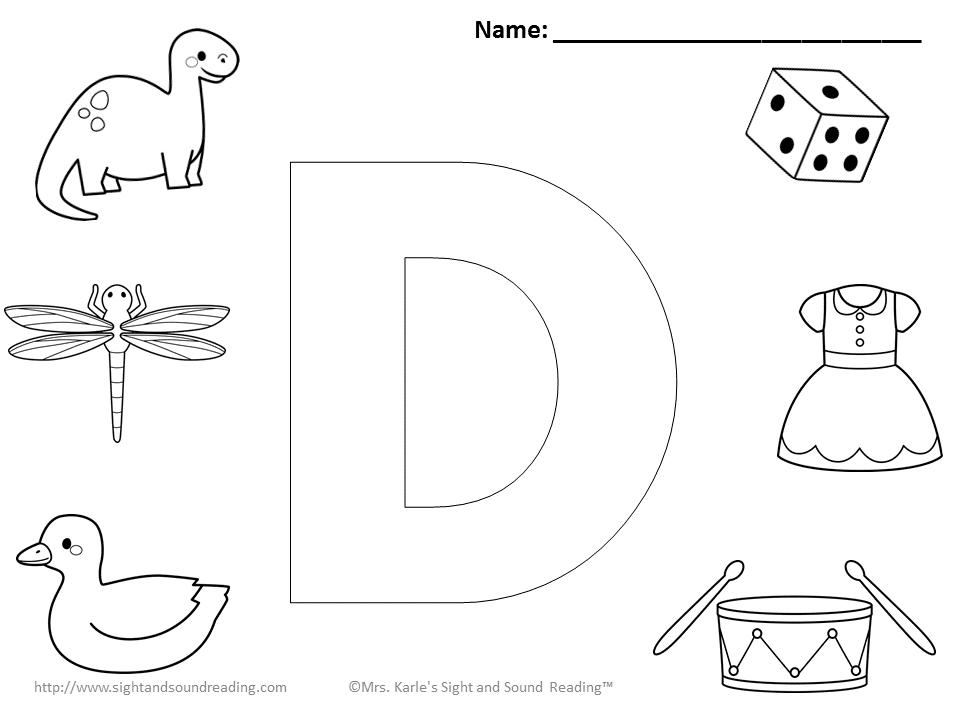 Preschool letter d coloring pages sketch coloring page for D coloring pages preschool