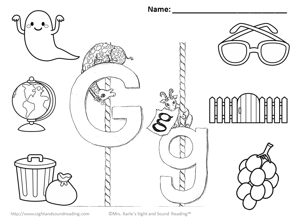 Alphabet Sounds Coloring Pages : Letter g coloring pages