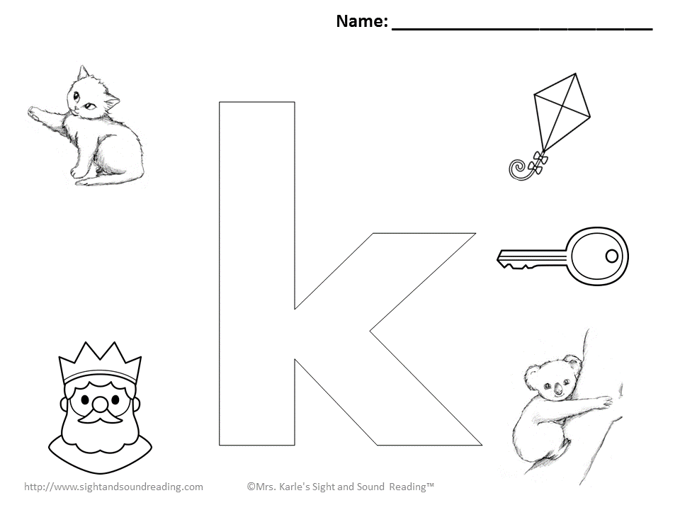 Free Capital Letter K Coloring Pages