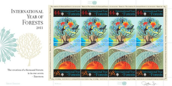 Sergio Baradat creates the UN Year of Forests Stamp