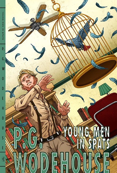 "Yuta Onoda illustrates a book cover for P. G. Wodehouse's ""Young Men in Spats."""