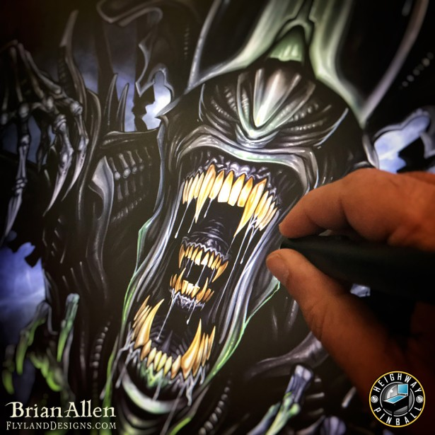 Official Alien Pinball Machine Back-glass Illustration