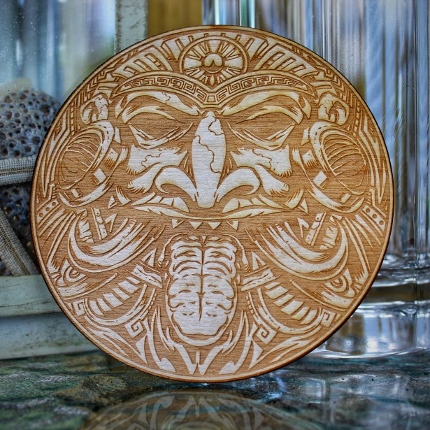Tiki LaserEngraved Wood Coasters