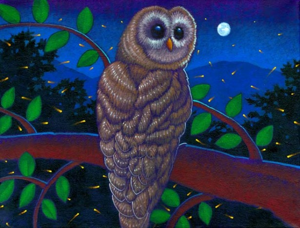 "Ray-Mel Cornelius' ""Spotted Owl with Fireflies"""