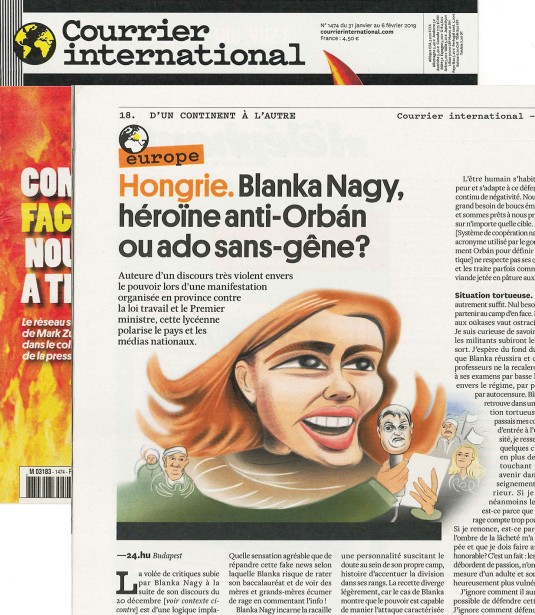 Urs J. Knobel's Caricature of Blanka Nagy for Courrier International