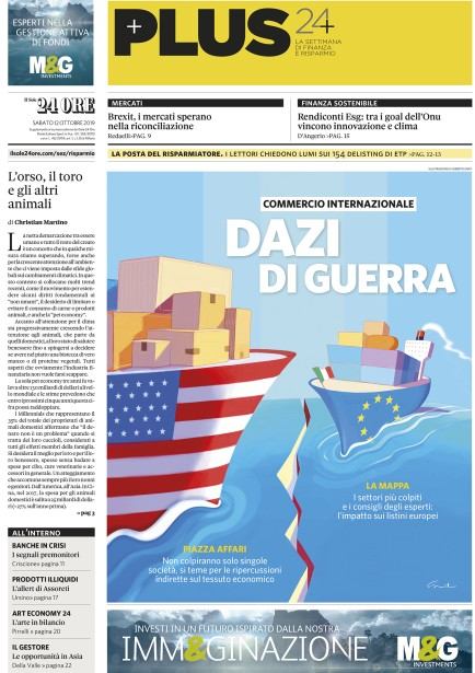 "Umberto Grati for Il Sole24ore ""Dazi Di Guerra"" cover"