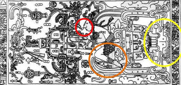 Imagen del llamado Astronauta de Palenque con detalles resaltados.