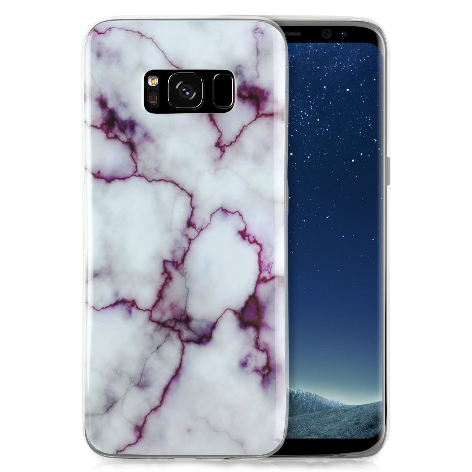 Samsung Galaxy S8 Case, GolemGuard Marble Stone Pattern Front & Back Protection Case for Galaxy S8 Soft Gel Anti-Scratch Cover TPU - PARENT