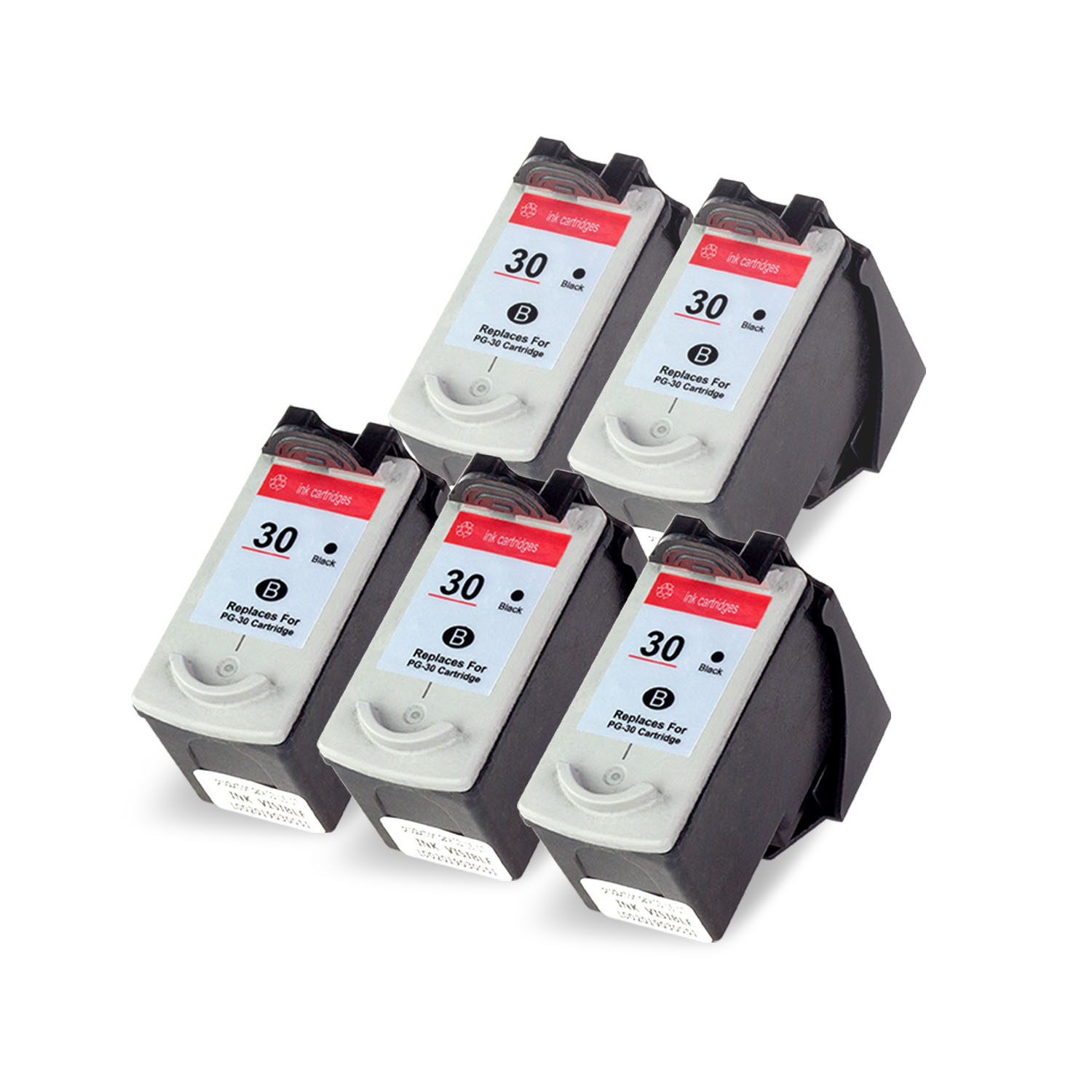 OFFICESMARTINK - PG30 Canon Cartridge Compatible [5 Pack] Black Ink Cartridge w/ Auto-Reset Ink for Canon PIXMA iP1800, iP2600, MP140, MP190, MP210, MP470, MX300, MX310