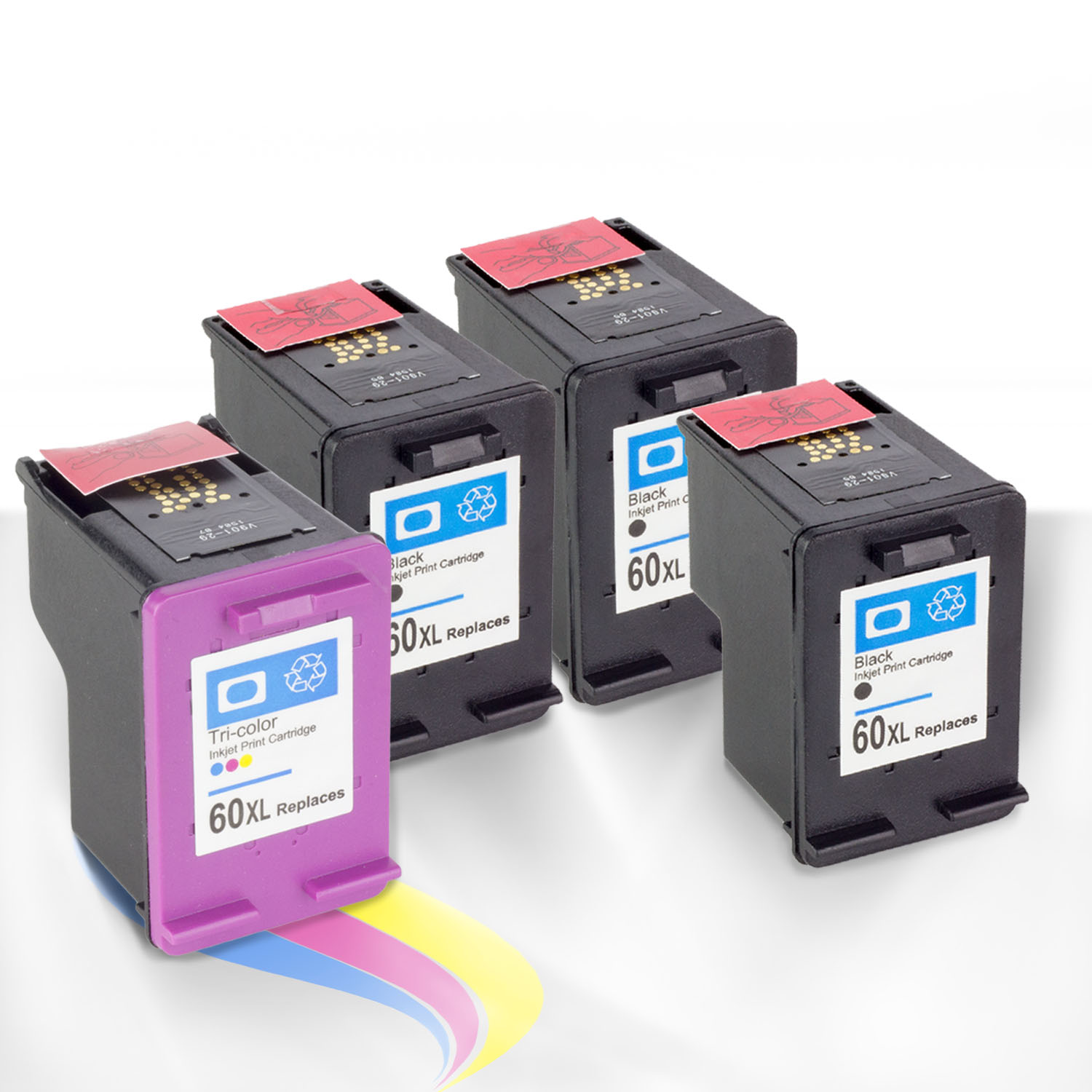 OfficeSmartInk No Worries Hassle Remanufactured 3PK Black HP 60XL CC641WN 1PK Color CC644W Excellent Yield Ink Cartridge Auto Reset