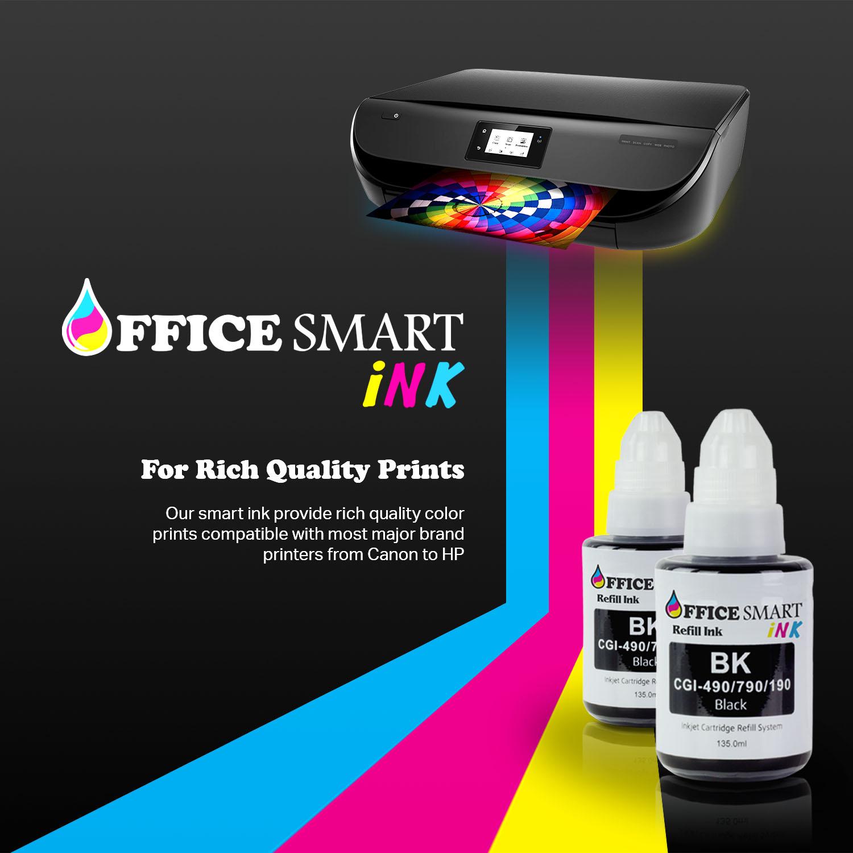 OfficeSmartInk 2pk Canon Compatible GI-190 GI-290 GI-490 GI-790 GI-890 GI-990 Black Dye Refill Ink 135ml PIXMA G4200, PIXMA G3200, PIXMA G2200, PIXMA G1200 G1000 G1100 G1400 G1800 G1900 G2000 Printers