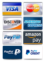 We accept Visa, MasterCard, Discover, American Express, PayPal, Google Checkout and Amazon Pay!