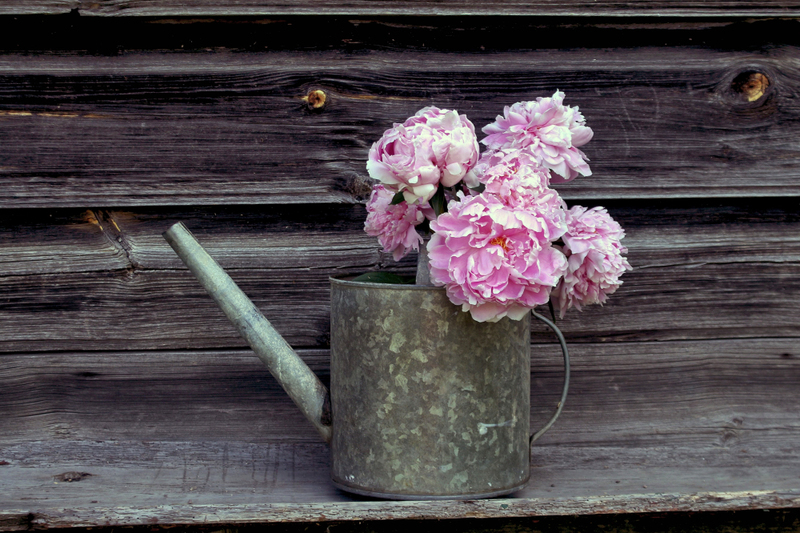 photograph of a watering can with pink flowers inside of it, as part of the supplies needed to complete a tree planting ceremony