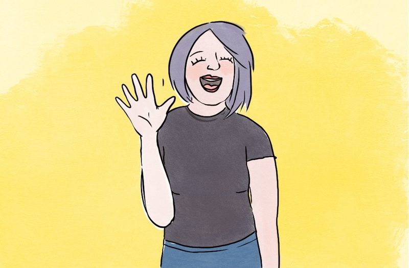 image is an illustration of a woman smiling and waving, she has light purple hair and a black tshirt and is in front of a bright yellow background, an ordained minister