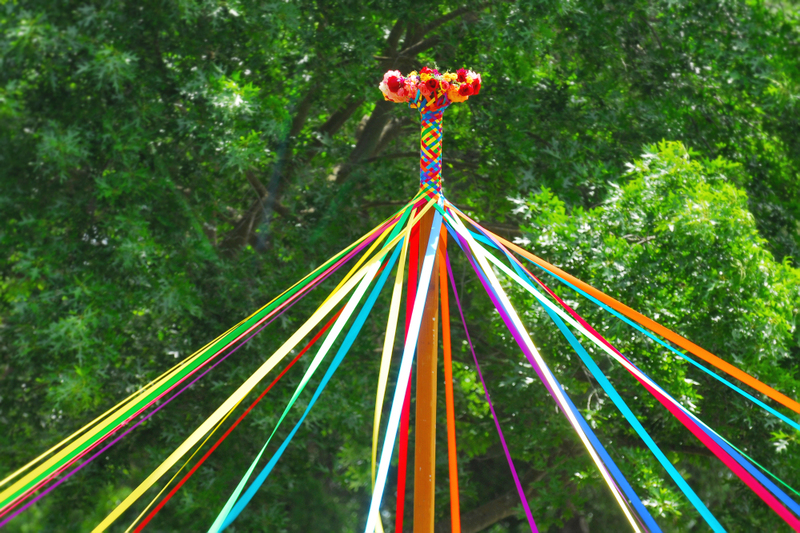 image is a photograph of a maypole plait or braid, woven around the top of the pole, the colors are bright and cheerful, and behind the pole is a big tree with bright green leaves