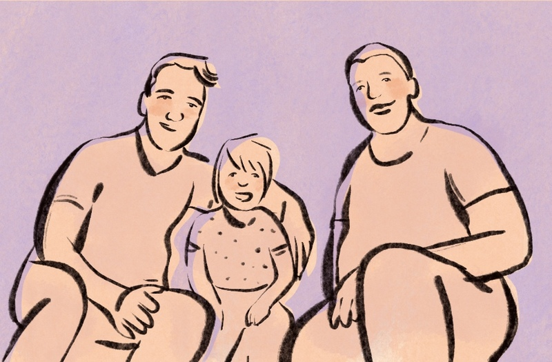 image is an illustration of two men and a child, representing two men who are in a platonic marriage to help raise a family