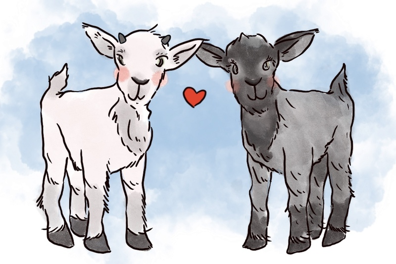 Image is an illustration of two pygmy goats, one white and one black, with cheerful expressions during a wedding ceremony