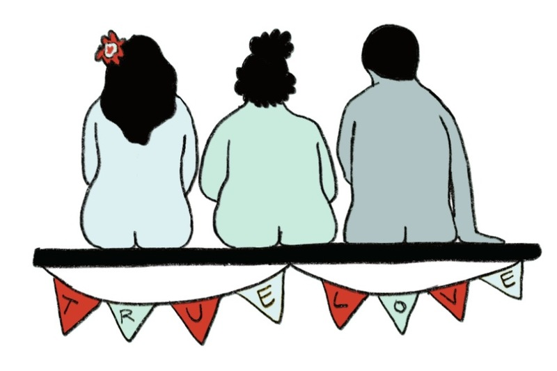 Image is an illustration of three people sitting naked on a bench at a wedding ceremony, with their backs to the audience, with a pendant banner that says True Love