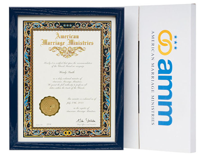 Photo shows the blueberry colored wood certificate frame with an American Marriage Ministries Ordination Certificate inside, next to the frame is a custom decorative printed box for shipping