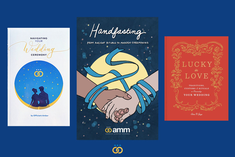 Photo shows 3 books for planning a wedding, including Navigating Your Wedding Ceremony, Handfasting: From Ancient Rituals to Modern Ceremonies, and Lucky in Love