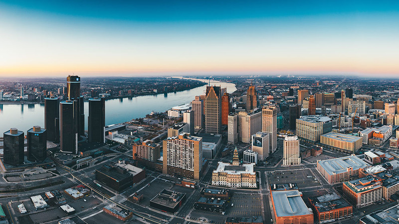 Photo of Detroit skyline, Wayne County