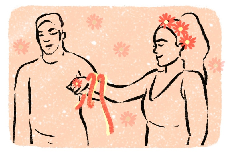 Illustration shows a young couple in their second wedding ceremony, a sequel wedding, inspired by the Celtic Pagan Year and a Day traditional handfasting