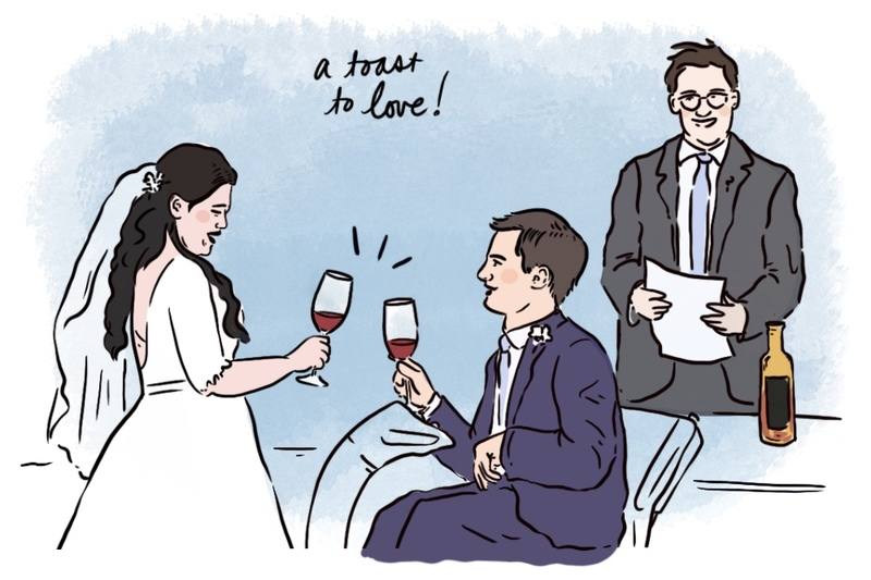 Illustration of Stacey and Nick toasting during their wine blending ceremony, while Max holds the wedding script behind them