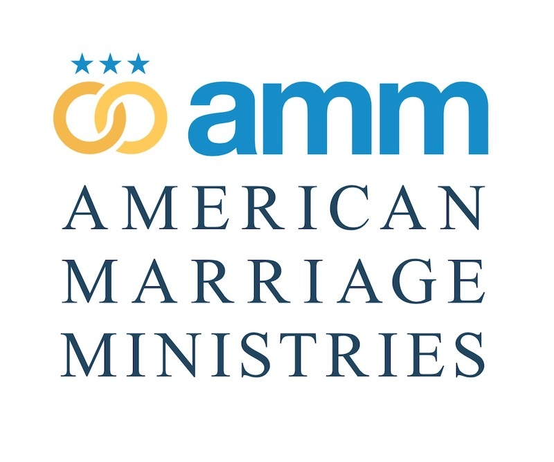 image is of the American Marriage Ministries AMM logo, showing gold rings overlapping and three blue stars above, the text reads American Marriage Ministries in blue in front of a white background