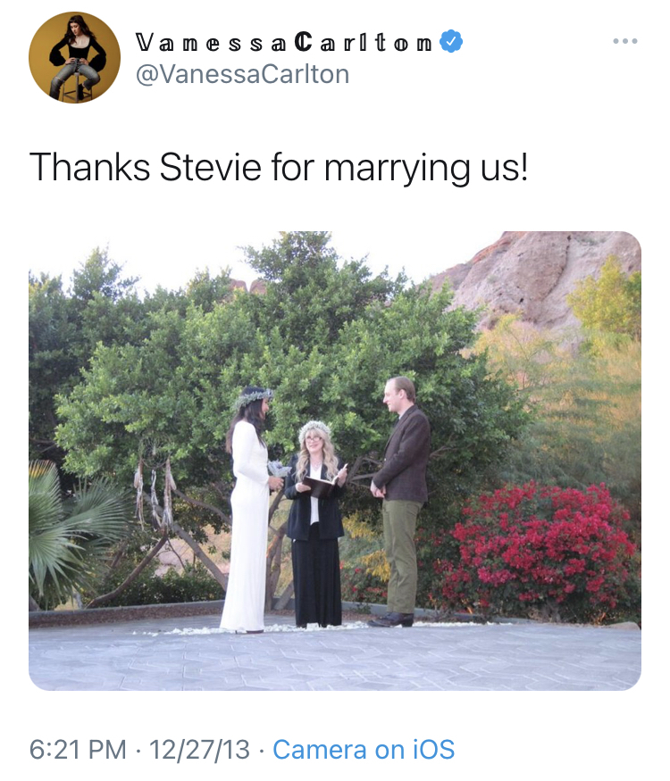 stevie nicks officating vanessa carlton's wedding photo, what to wear to a wedding ceremony