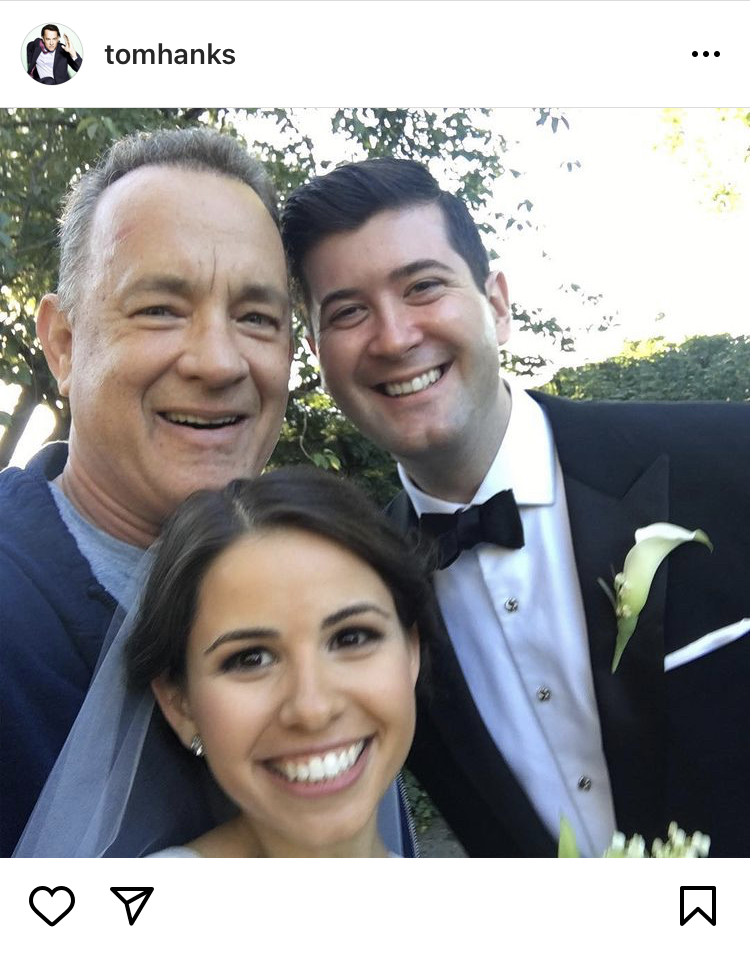 tom hanks photobombs wedding shoot, celebrity officiant