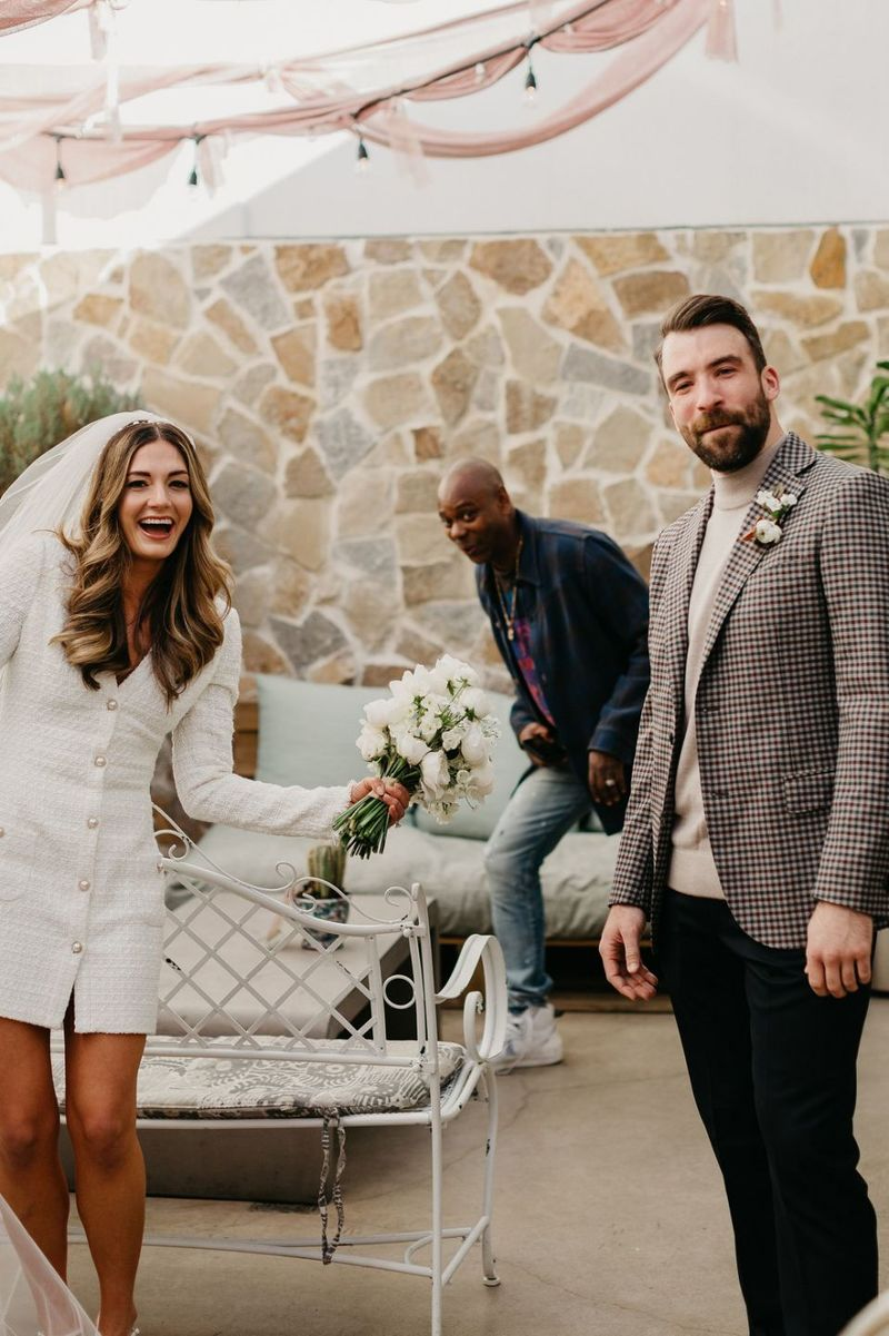 Dave Chappelle photobomb Texas wedding photo first look photo