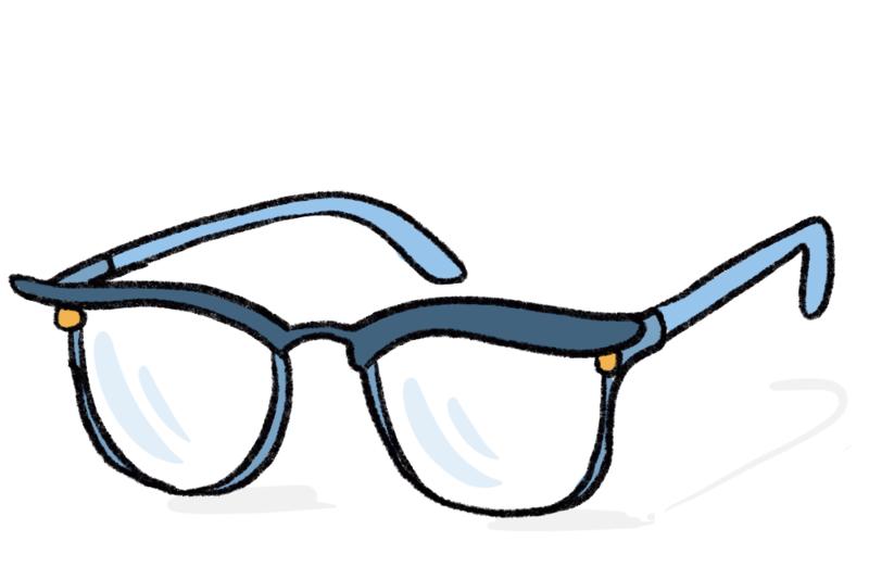 Illustration of cat-eye eye glasses ready for a wedding officiant to wear!