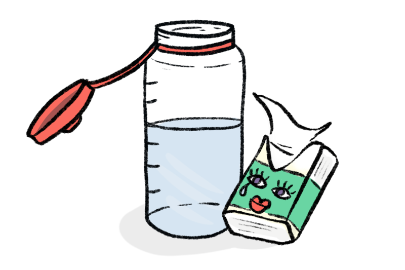 illustration of a water bottle and a pocket pack of tissues to bring when performing a wedding.