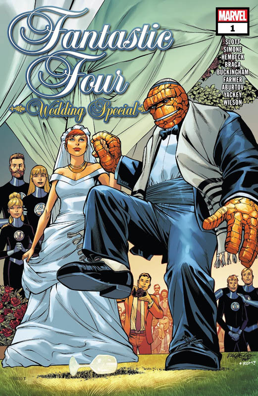 The Thing, Ben Grimm, marries Alicia Masters in this comic book, the cover is of the two of them holding hands and celebrating at their Jewish wedding ceremony in a suit and dress