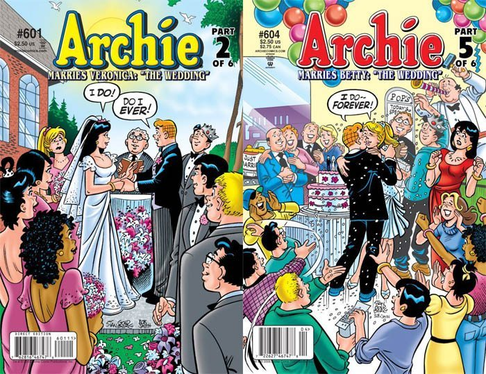 Side by side comic book covers of Archie issues 601 and 604 when he marries Veronica and then Betty in two fantasy weddings