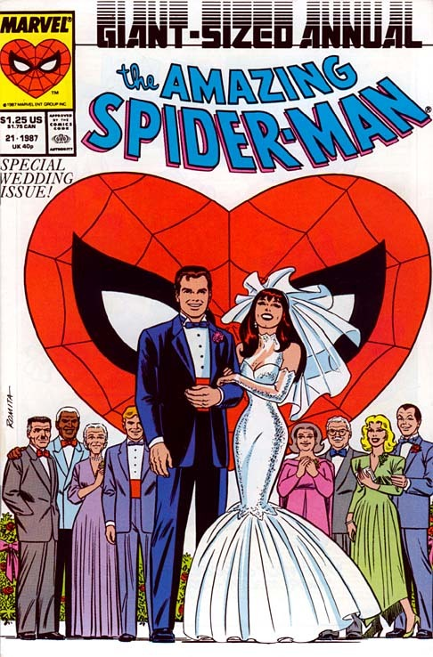 the amazing spiderman #21 comic book cover from 1987 with Peter Parker marrying Mary Jane at their wedding