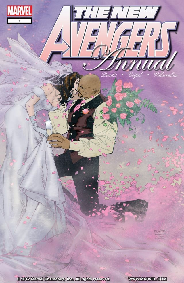 comic book cover of Luke Cage and Jessica Jones getting married, Marvel 1 The New Avengers