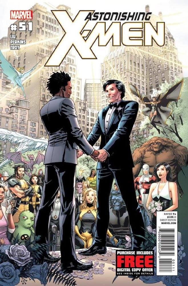 XMen wedding with Northstar and Kyle in a city landscape, this was the comic book cover and the first mainstream gay wedding in comics, LGBTQ+ and interracial