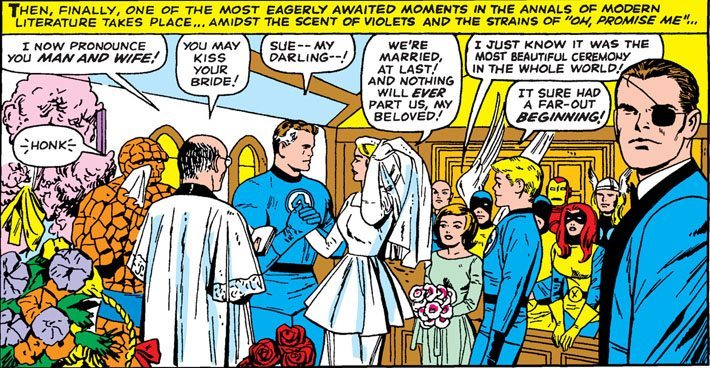Image of Marvel 60th anniversary teaser with Doctor Doom and his Bride of Doom surrounded by other Marvel characters at a wedding