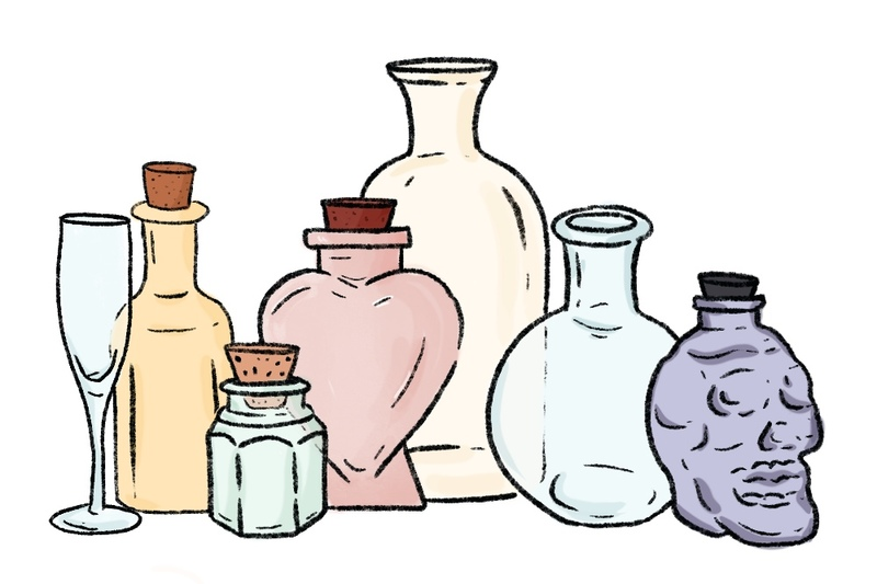 illustration of many colorful vessels and glass containers to use to perform a sand ceremony including champagne flute and glass skull