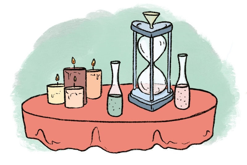 illustration of a sand ceremony set up, using two colors of sand and an hourglass on a burnt orange red tablecloth with a green background