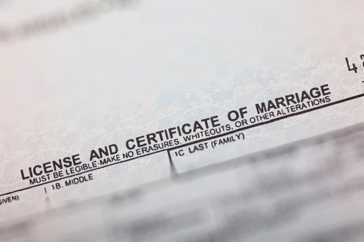 image of a marriage license
