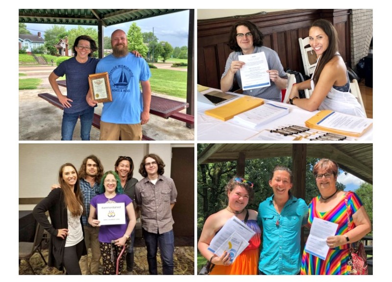 A grid of four photos of smiling ministers with AMM staff in Tennessee with their in person ordination certificates