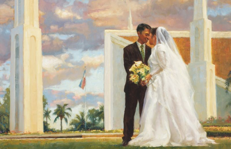 this is a painting taken from the Church of Jesus Christ of Latter-day Saints website of a young couple in wedding clothes standing in front of a pink and blue sunset, with a temple behind them