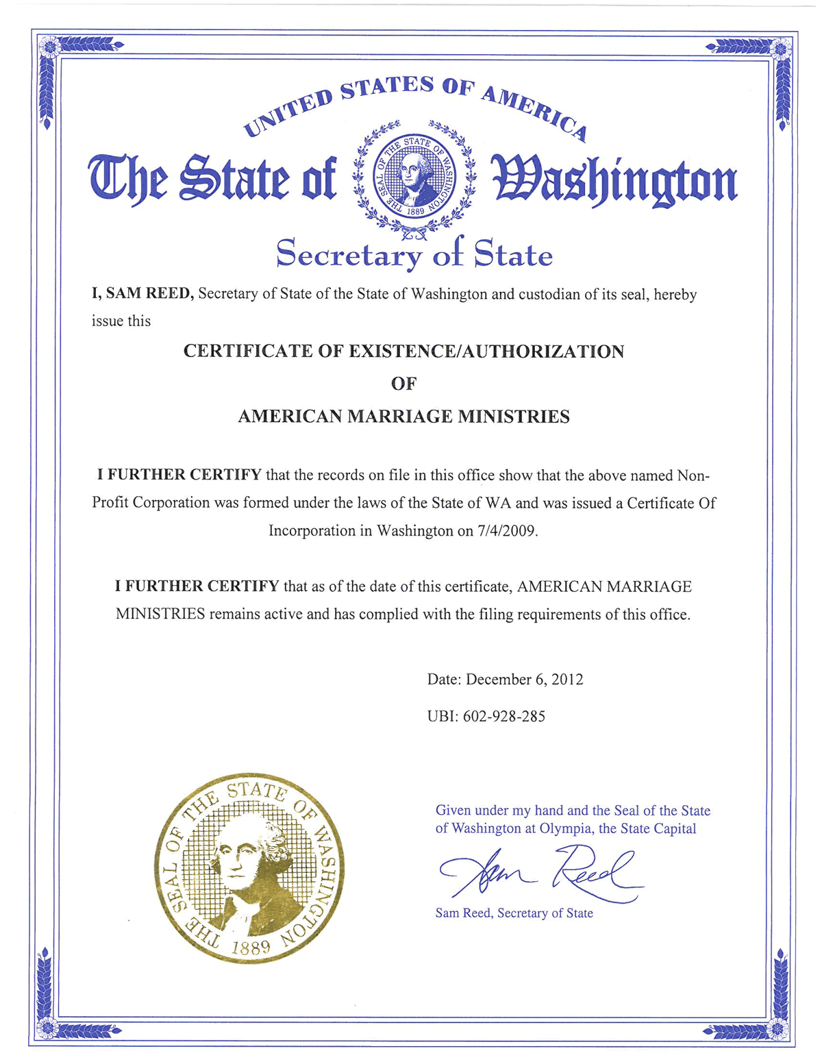 American marriage ministries washington certificate of existence