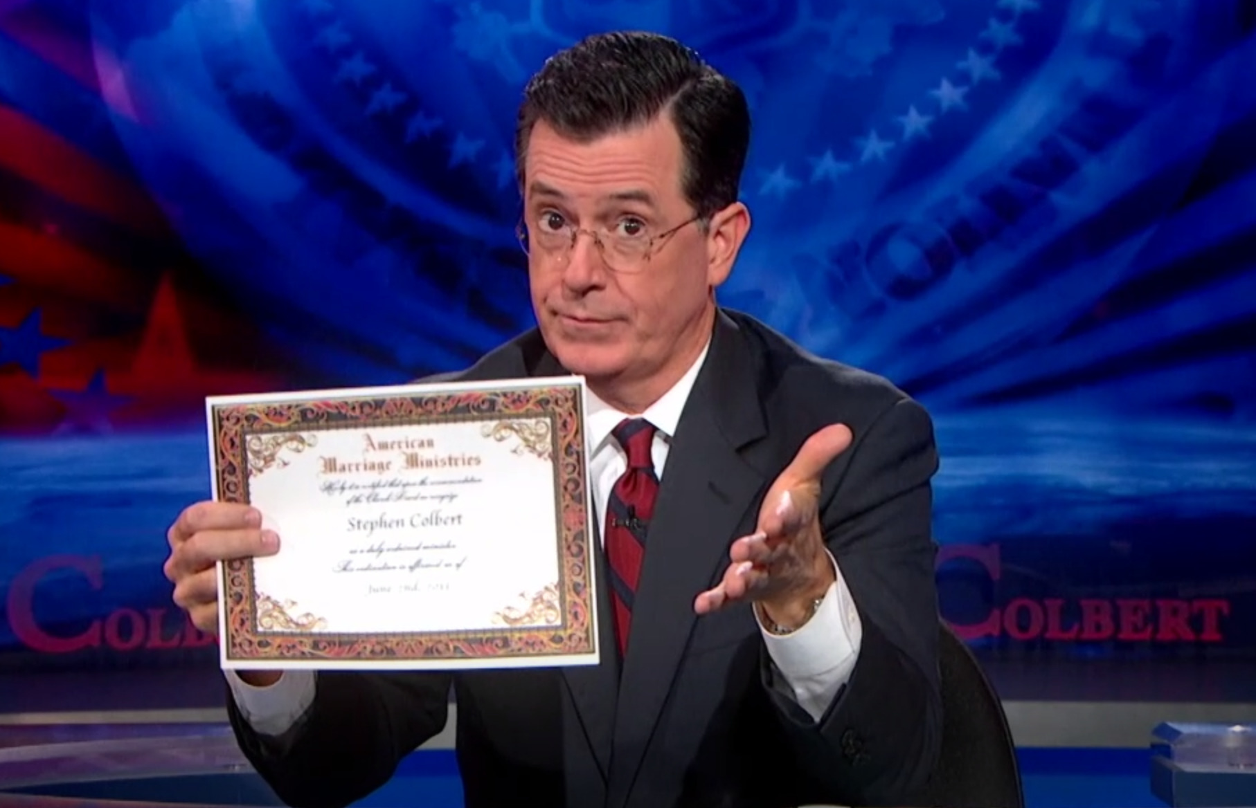 Our most famous minister yet, Stephen Colbert