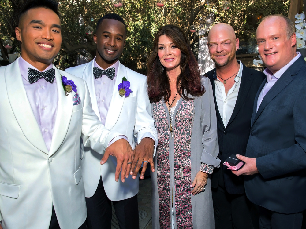 Here, Lisa Vanderpump channels a very ministerial look with this stylish ensemble. She's already performed several marriages as an AMM Minister, and she always looks the part.