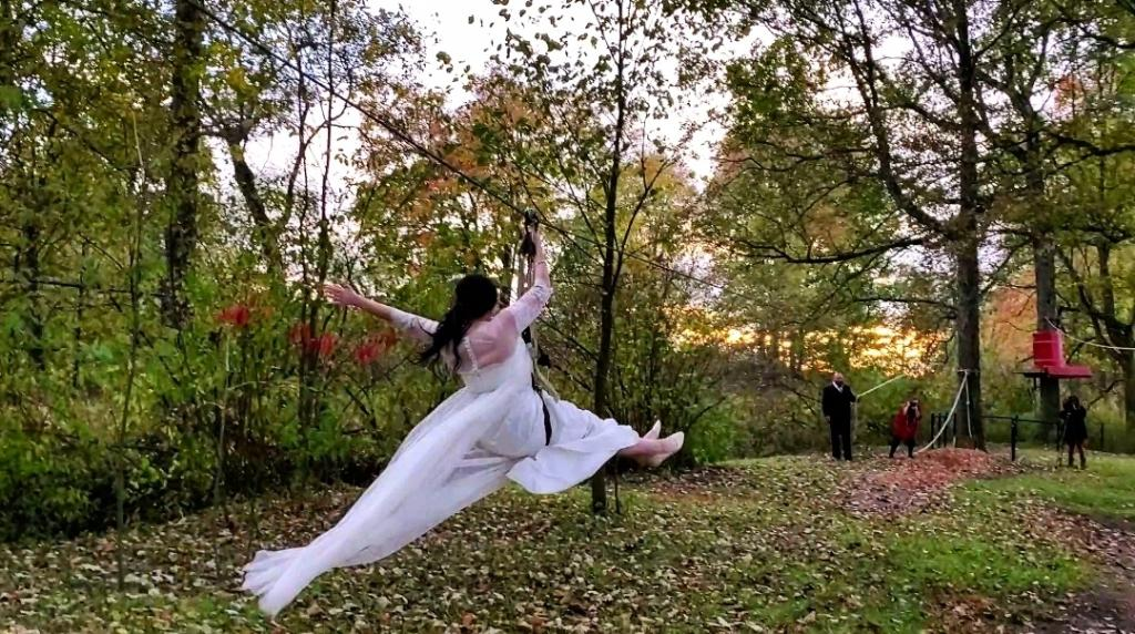 """The bride """"zipping"""" down the aisle, when walking just wont do."""