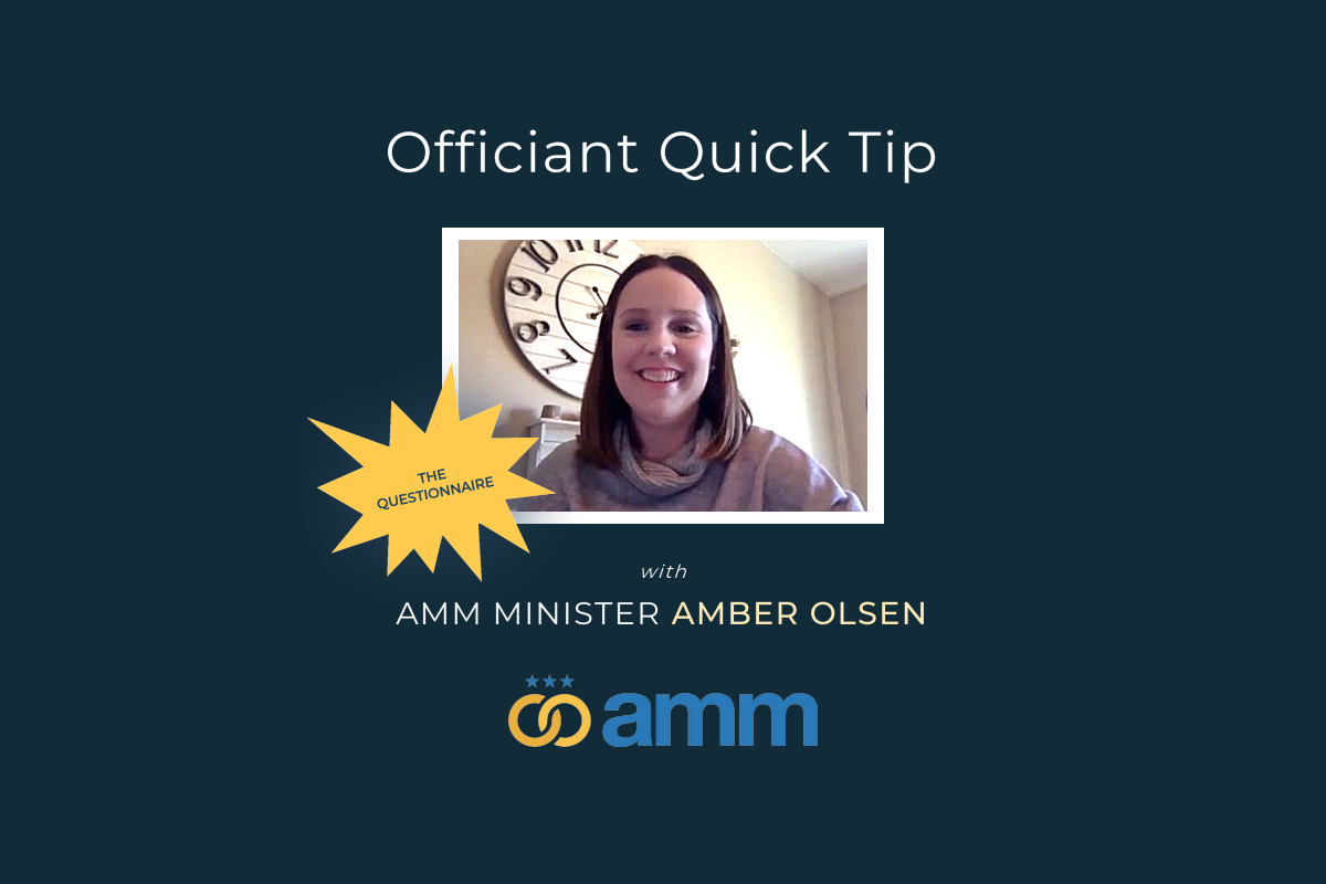 Wedding officiant ceremony advice training amber olsen questionnaire