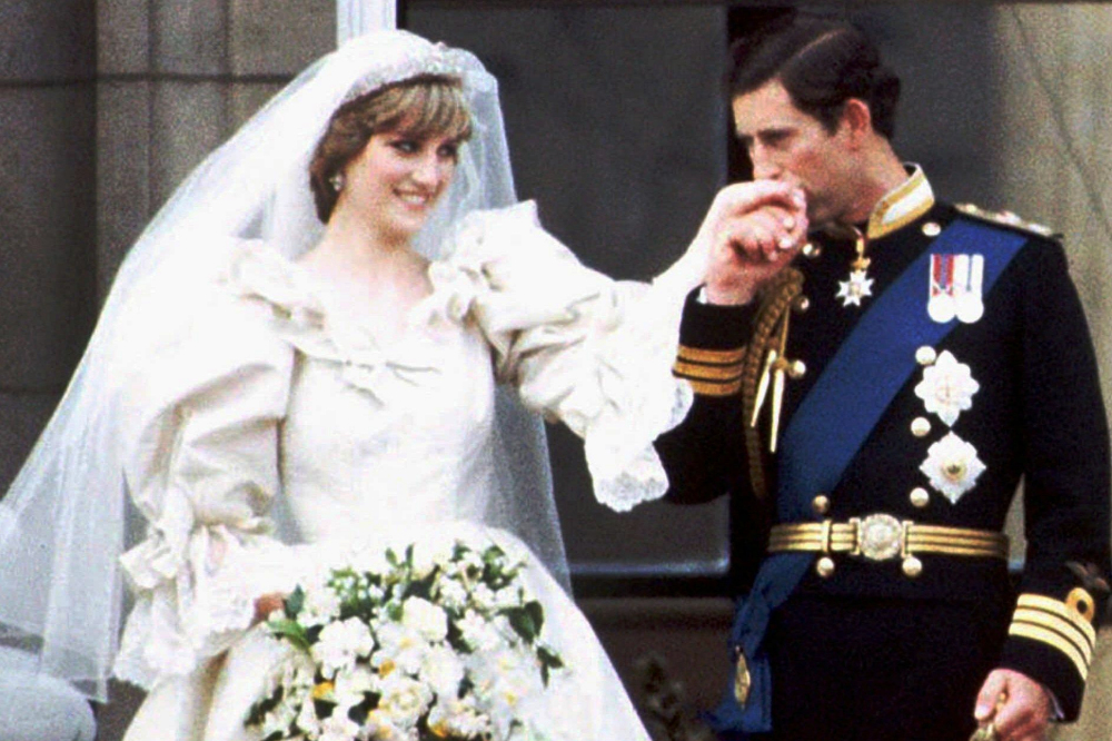 Princess Diana and Prince Charles, screenshot taken from the AP Archives footage of the royal wedding, linked below